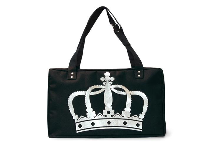 Сумка для фитнеса и танцев черная с серебряной итальянской короной.